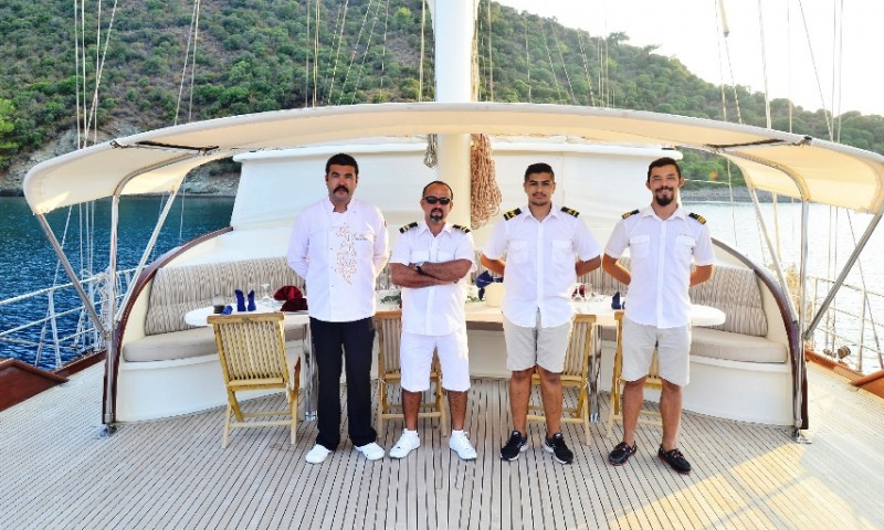 Crew on exclusive gullet yacht cruise